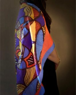 Blue Orange Mandala Stolewrap by  Triveni Mahajan