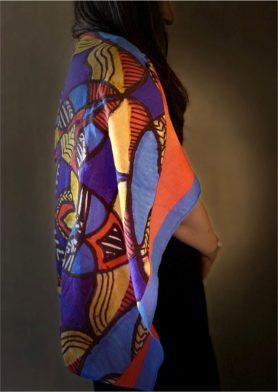 Blue Orange Mandala Stolewrap by  Triveni Mahajan