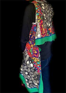 Green, Black & White Stolewrap by  Triveni Mahajan