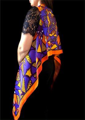 Orange Blue Stolewrap by  Triveni Mahajan