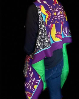 Purple, Black & White Stolewrap by  Triveni Mahajan