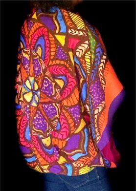 Purple Orange Mandala Stolewrap by  Triveni Mahajan