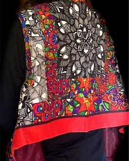 Red, Black & White Stolewrap by  Triveni Mahajan