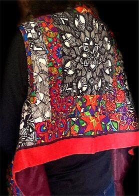 Red, Black & White Stolewrap by  Triveni Mahajan